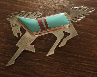 Sterling & Turquoise Vintage Horse Pin