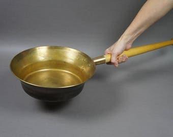 frying pan, vintage frying pan, frying pan decor, frying pan brass, brass frying pan, kitchen decor, brass dishware