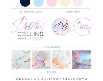Watercolor Logo Design, Pastel Feminine Branding Kit, Photography Logo Watermark, Premade Branding Package, Custom Logo, Fashion Blog Header