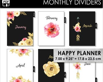 Monthly Happy Planner Classic Dividers Inserts 12 Month Tabs Flowers Pink and Gold Boho Arrows Year Arc Planner Pdf Download PRINTABLE