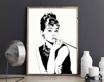 Audrey Hepburn Print, Breakfast at Tiffany's, Audrey Hepburn Art, Coco Chanel, Tiffany's Printable, Art Print