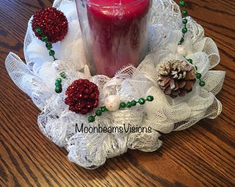 Christmas centerpiece, candle table decor, table centerpiece, centerpiece, unique centerpiece, mesh candle centerpiece, candle decor