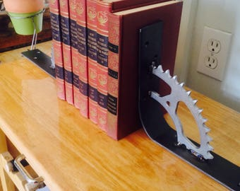 Motorcycle sprocket book ends or Shelf brackets.