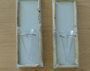Bud vases, driftwood and glass - set of 2 - wall decor - vases