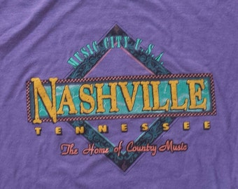 Vintage 1990's Nashville Tennessee  Music City USA Tee / T Shirt (L) Made in USA / Tri-Blend