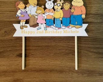 Arthur and friends cake topper with name and age