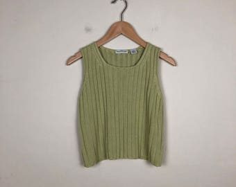 Vintage Green Knit Tank Size Small, Knit Tank Small