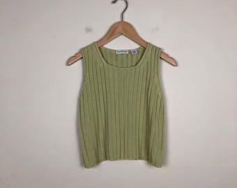 Vintage Green Knit Tank Size Small, Knit Tank Small