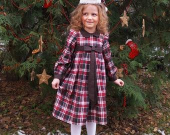 RED CHRISTMAS DRESS  Red plaid dress Girls Christmas Dress  Baby Christmas Christmas Outfit  tartan dress girls red dress Christmas cap