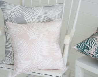 Palm Leaf Garden Blush White Cushion Pillow Tropical Palm Tree