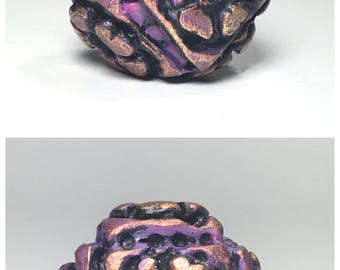 Purple Cube Polymer Clay Bead, Large Floral Square Bead, Rustic Art Bead, Textured Bead, Artisan Bead, Hollow Cube Bead, Artisan Focal Bead