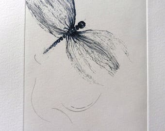 Fly, dragonfly, burin engraving.