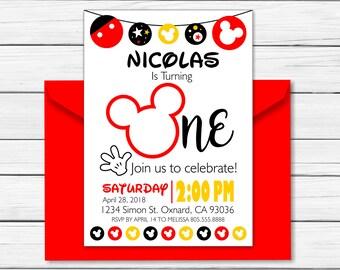 Mickey Mouse Birthday Invitation - Printable - Mickey Mouse Clubhouse Birthday Invitation - Mickey Mouse Invitation – One Year 1 - Custom