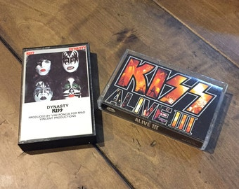 2 RARE KISS Cassettes - KISS Alive Iii - Dynasty Kiss - 1979 Casablanca Records - Kiss Music Cassettes