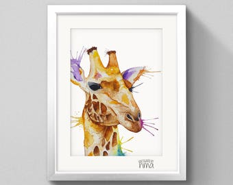 A4 Giraffe Watercolour Print