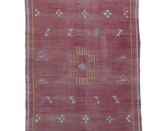 Vintage Red Moroccan Rug Cactus Silk Textile - Large Size