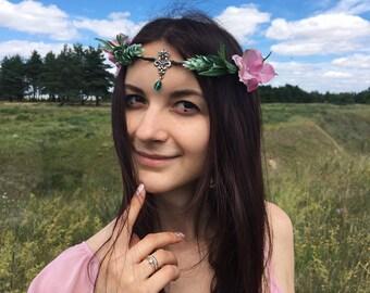 Woodland elf tiara elven jewelry fairy crown elvish diadem elven circlet wedding elfic crown elfish accessory medieval circlet celtic diadem