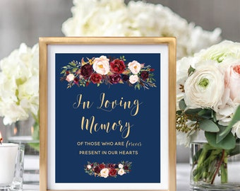 In Loving Memory Sign, Memorial Table Sign, Burgundy Floral Wedding Sign, Printable Wedding Sign, Navy Blue, Foral Watercolor, Marsala #A003