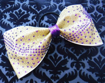 Tailless Cheer Bow, Tuxedo Bow with Gold glitter, Purple Rhinestones and a Purple Glitter Center