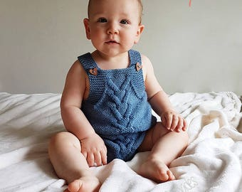 Baby Romper, Hand Knitted Onesie, Vintage Style Romper, Retro Style Baby Romper, Baby Overalls, Baby Gift, Baby Shower Gift, Photo Prop