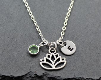 Lotus Flower Necklace - Personalized Birthstone & Initial - Yoga Necklace - Lotus Flower Jewelry for Women and Girls - Yoga Lover Gifts