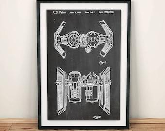 Star Wars Tie Bomber Ship Lucasfilm Patent Art Poster