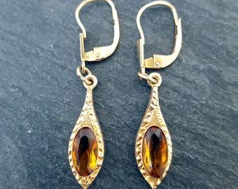 Vintage 9ct Gold Citrine Drop Earrings