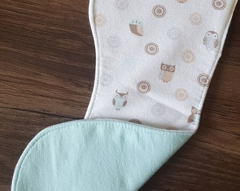 Turquoise and Gray Owl Flannel Burp Cloth