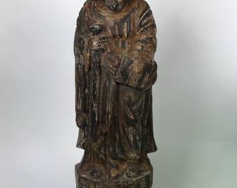Antique Carved Wood Religious Saint Bartolome Statue