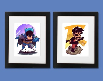 Batman and Robin Wall Art - Set of 2 Prints