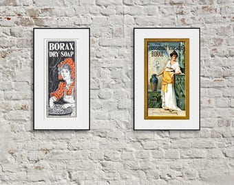 2 BORAX SOAP Vintage 19th Century Advertisements; NEW Giclee Prints Posters; Women in Art; Greek Roman Fashion; Kitchen Wall Decor; P173