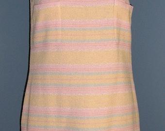Vintage 90s Chanel striped sheath Size 42 MINT sleeveless wool blend