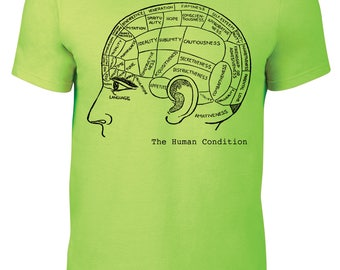 """Mens Neon Green T Shirt with """"The Human Condition"""" Screen Printed in Black"""