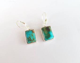 Turquoise Silver Earrings, Turquoise Earrings Silver, Turquoise Boho Earrings, Turquoise Blue Earrings, Cowgirl Earrings, Hippie Earrings