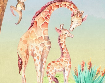 Watercolor Giraffe Family - Baby Art Print