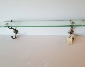 Vintage Glass Bathroom Shelf with Hooks