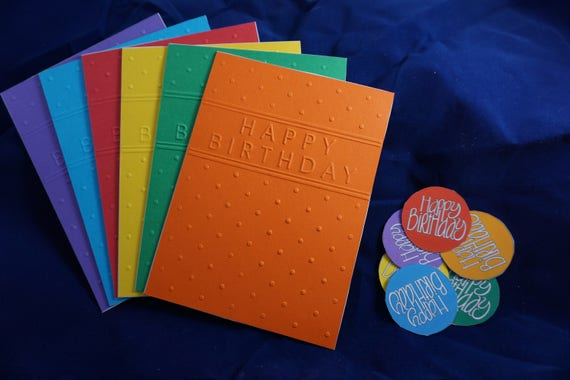 CLEARANCE of 6 colorful embossed birthday cards.