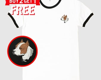 Pitbull Terrier Dog Embroidered Ringer T-Shirt by 24PlanetsStudio