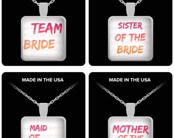 """Bridal Jewelry - Maid of Honor, Team Bride, Mother of the Bride, Sister of the Bride! on Silver Necklace 22"""" silver plated necklace!"""