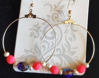 Hoop Earrings Hot Pink and Blue