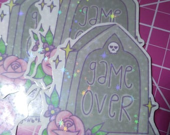 Sparkly Holographic Vinyl Game Over Sticker