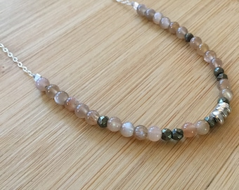 Peach Moonstone Necklace, Sterling Silver Necklace, Boho Pyrite Necklace, Peach Brown Necklace, Moonstone Bead Necklace, Moonstone Jewelry