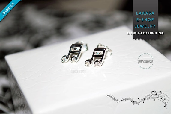 Music Notes Symbols Studs Earrings Sterling Silver Jewelry Cubic Zirconia Crystals Best Gift Woman Girl Unisex Musiclovers Jazz Piano Violin