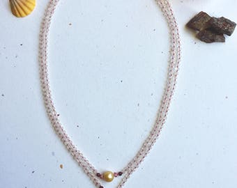 Golden South Sea Pearl and Hawaiian Sunrise Shell with Rose Quartz Double Strand Necklace