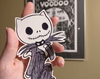 Jack Skellington, the pumpkin meow sticker; Nightmare Before Christmas