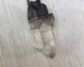 Raw crystal Quartz necklace | Electroformed Clear Quartz necklace | Raw crystal Pendant | Rough quartz crystal necklace