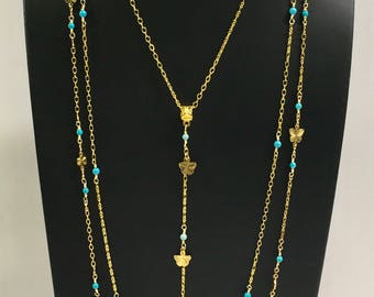 Gold chains necklace, gold with Turqouise multi strands necklace, three strands necklace, layered necklace, fine chains necklace