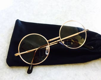 Classic Gold John Lennon Clear Lens Round Frame Spectacle Transparent Circle Glasses