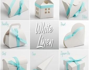 White Linen Favour Box, Linen textured Box, White Wedding, Traditional Wedding, White gift Box, Wedding Favor Box, Party Favor Box, White