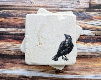 Black Bird Stone Coasters, Raven Coasters, Bird Coasters, Bird Watcher Gift, Crow Coasters, Raven Home Decor, Bird Home Decor, Black Birds